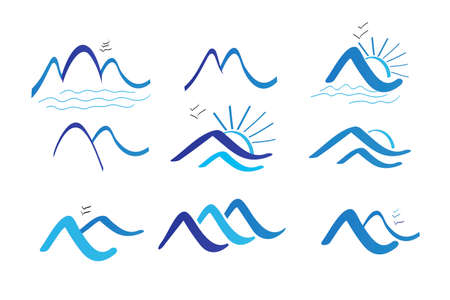 Set of nine blue mountains beach sun and birds icon logo vector image background template  イラスト・ベクター素材
