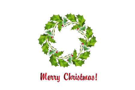 Merry Christmas wreath  pine fir tree leaves with red cherries in a circle shape decoration frame with red text for gift cards in Christmas time.