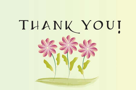 Thank You Greeting Card Text Word  and Flowers Watercolor Vector Image Graphic Illustration  イラスト・ベクター素材