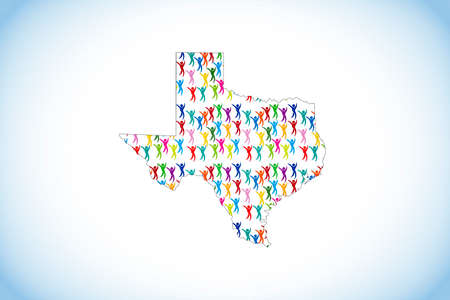 Unity diversity colorful people inside of Texas map icon vector image design