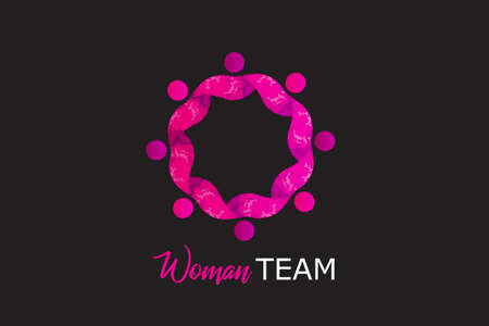 Teamwork girl partners in a hug of eight persons concept of unity friendship partnership working together icon   vector image design  イラスト・ベクター素材
