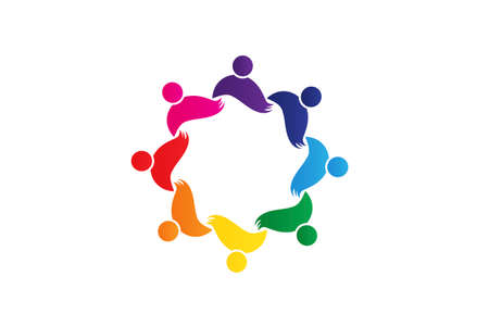 Teamwork young people partners in a hug of eight persons concept of unity friendship partnership working together icon   vector image design  イラスト・ベクター素材