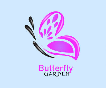 Beautiful Pink Butterfly Logo Vector Identity ID Card Business Minimalistic Vector Image Banner Template  イラスト・ベクター素材
