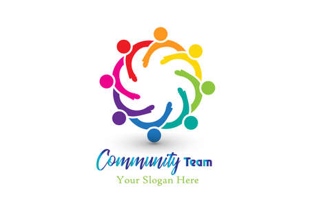 Logo community teamwork people in a hug can be a group of children working together vector image logotype id card design  イラスト・ベクター素材