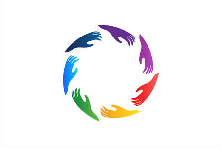 Logo colorful hands around in a circle shape image web vector icon rainbow colors background template  イラスト・ベクター素材