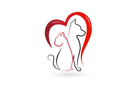 Logo dog and cat in a bird love heart shape veterinary business id card vector image graphic design
