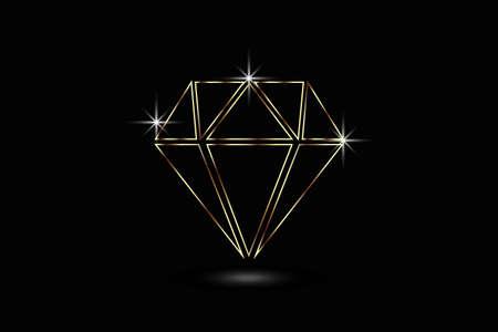 Gold diamond with brilliant sparkles jewelry sapphire gems luxury symbol logo vector  イラスト・ベクター素材