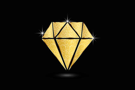 Gold diamond logo swirly floral brilliant sparkles jewelry sapphire gems luxury symbol image vector isolated on black background.  イラスト・ベクター素材