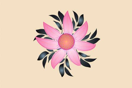 Spring season flower greetings card pink color print fine art symbol logo vector image design  イラスト・ベクター素材