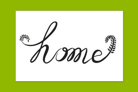 Home text word handmade with swirly leaves lettering typographic icon vector image creative graphic illustration banner template on green background  イラスト・ベクター素材