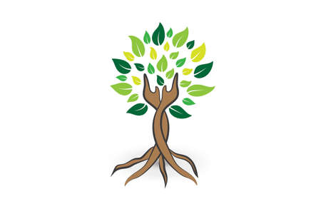 Tree ecology hands care logo icon vector image graphic design illustration template