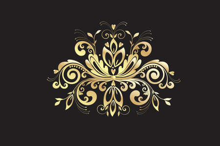 Gold Floral vintage swirly leaf ornamental graphic illustration beautiful flower hearts and leaf arrangement golden floral vector image