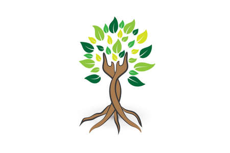 Tree ecology leaf hands care logo icon vector image