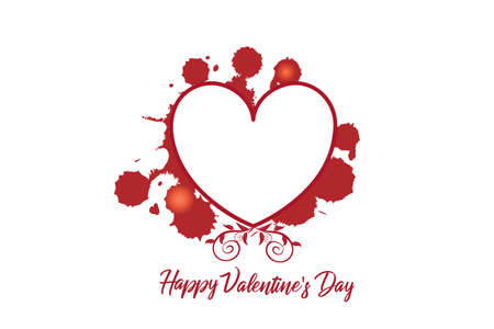 Love heart valentines day card with copy space to write your own frase inside floral swirly splatter drops paint greetings card vector image graphic design
