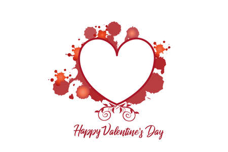 Love heart valentines day card with copy space to write your own frase inside floral swirly splatter paint greetings card vector image graphic design