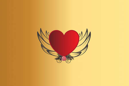 Love heart with wings and rose flower vintage decoration swirly leafs icon logo vector image design template
