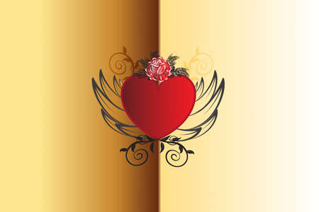 Love heart rose and wings and rose flower vintage decoration swirly leaves icon logo vector image design template gold background  イラスト・ベクター素材