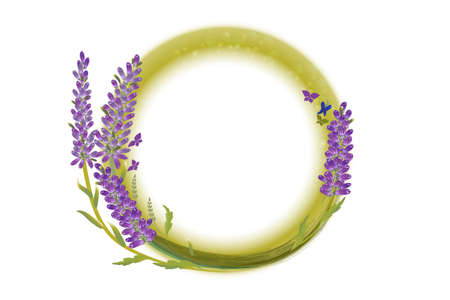 Lavender flowers and butterflies in a circle shape hand drawn design for thank you card, greeting card or invitation vector image illustration.