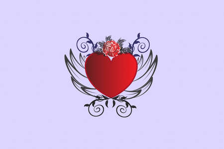 Love heart rose and wings and rose flower vintage decoration swirly leaves icon logo vector image design template invitation greetings card