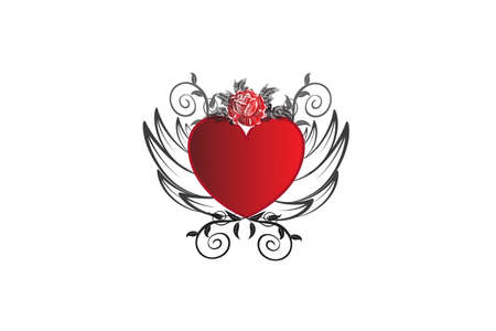 Love heart with wings and rose flower vintage decoration swirly leaves icon logo sketch vector image design template