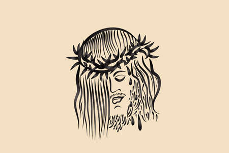 Jesus Christ Passion face suffering with the thorn crown sketch logo vector image graphic illustration