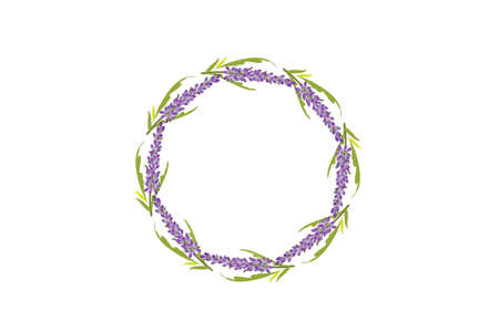 Lavender flowers wreath hand drawn design for thank you card, greeting card or invitation vector image illustration.
