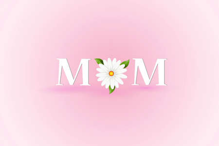 Mothers day card word text of mom with a beautiful flower thank you card or greetings card on a pink background banner template vector image design