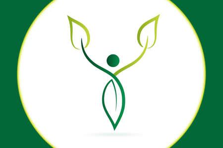 Health nature leaf man body figure fitness spa massage logo vector image design  イラスト・ベクター素材