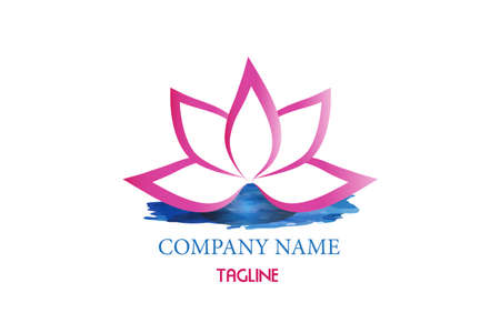 Logo lotus flower on a blue water pond  watercolor spa massage icon vector image graphic design