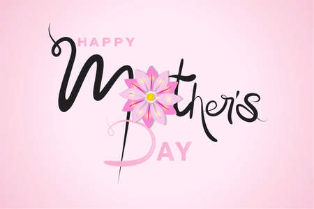 Happy Mothers day card word text of mom with a beautiful flower thank you card or greetings card on a pink shiny background banner template vector image design