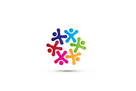 Logo friendship teamwork people holding hands can be a group of children playing together vector image logotype id card design