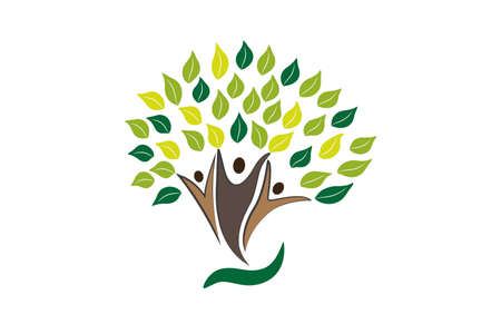 Tree figures happiness growth concept symbol logo vector image design