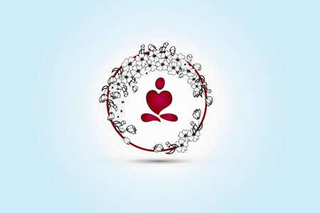 Yoga man heart shape into a wreath stylized floral circle frame logo vector image design