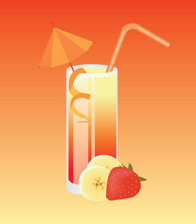 banana-strawberry coctail Vector