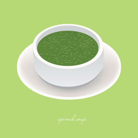 spinach: tasty spinach soup in white bowl on the green background Illustration