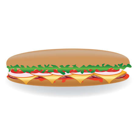 ham sandwich: big sandwich with lettuce, tomato, salami, cheese, ketchup Illustration