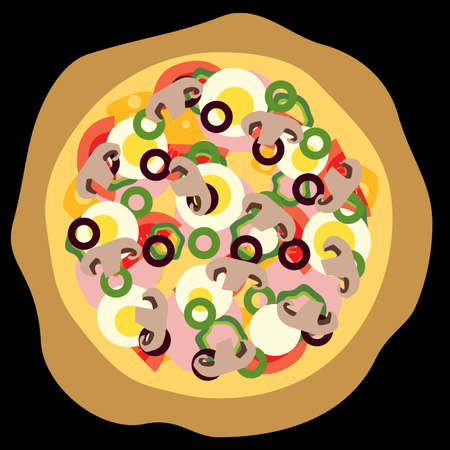 pizza with egg, tomato, paprika, mushroom, olive Vector
