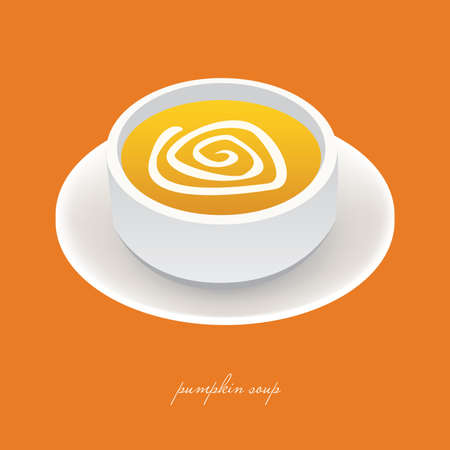 pumpkin soup in white bowl with orange background Vector