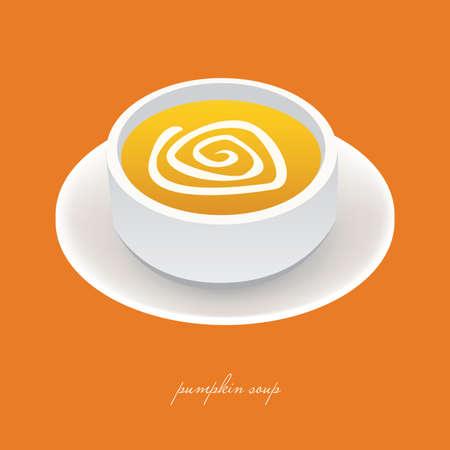 bowl of fruit: pumpkin soup in white bowl with orange background Illustration