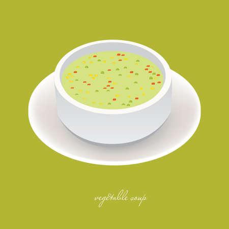 sopa: sopa de verduras en recipiente blanco con fondo verde  Vectores
