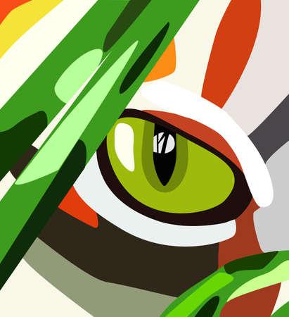 yellow cat eye behind green grass Vector