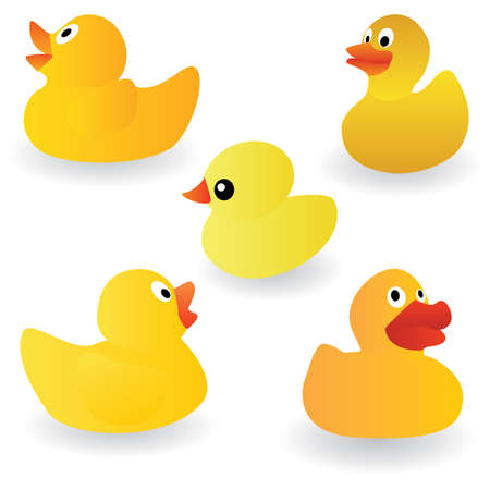 set of yellow rubber duck on the white background Vector
