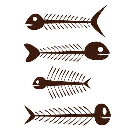 脊椎: 魚の骨格 - 白い背景の上に茶色のセット