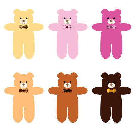 set of different kind of teddy bears Иллюстрация