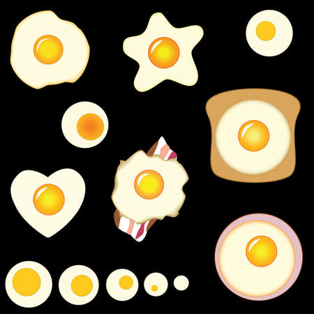 set of fried eggs Vector