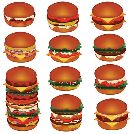 eating burger: set of tasty hamburgers with meat, cheese, tomato, salat
