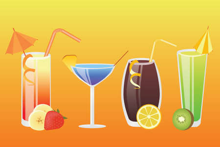 four of a kind: four kind of different drinks on the orange background