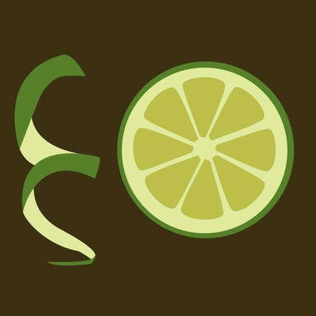orange peel: slice of green lime on the dark background Illustration