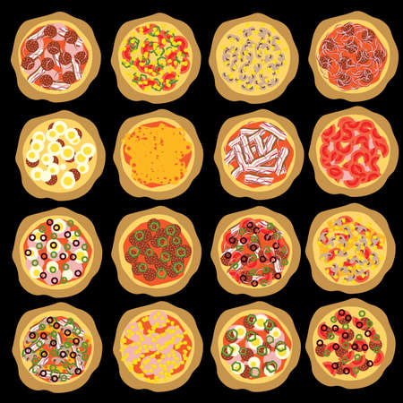 종류: different kind of pizza on the black background