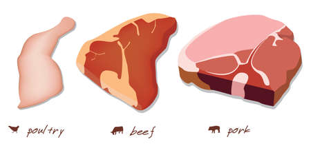 raw meat: three kind of meat - poultry, beef and pork